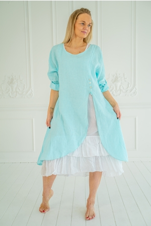 ROMANTIC LINEN DRESS, TURCHESE
