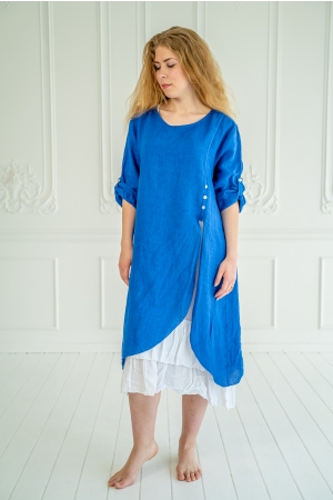 ROMANTIC LINEN DRESS, ROYAL