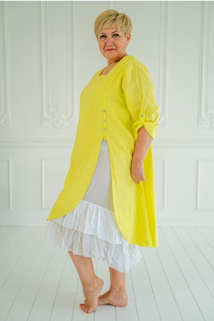 ROMANTIC LINEN DRESS, LIME