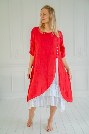 ROMANTIC LINEN DRESS,  RED