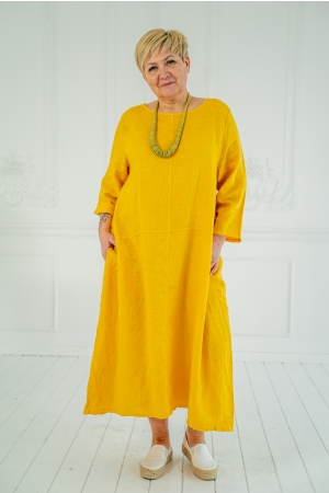FREEDOM LINEN DRESS,  THICK YELLOW