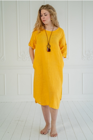 SKY STAR LINEN DRESS, DARK YELLOW