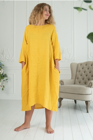 FREEDOM LINEN DRESS,  DARK YELLOW