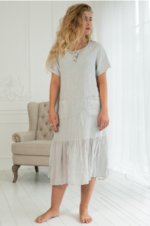 BLUE LIGHT LINEN DRESS,GREY