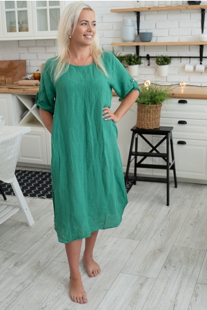 SKY STAR LINEN DRESS, GREEN