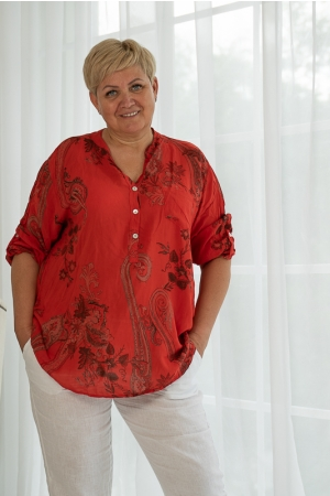 DAHLIA BLOUSE, RED VISKOSE
