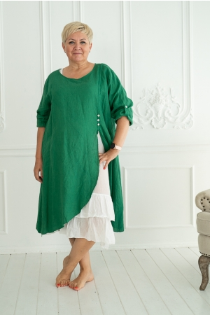 ROMANTIC LINEN DRESS, GREEN