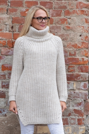 COZY TURTLENECK SWEATER, BEIGE