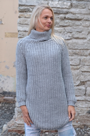 COZY TURTLENECK SWEATER, LIGHT GREY