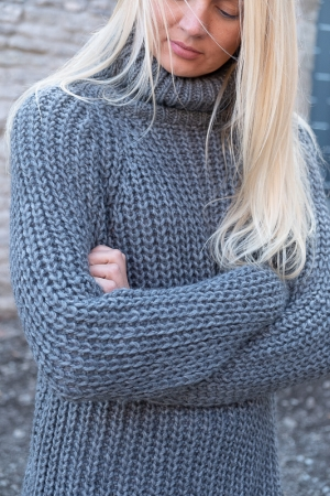 COZY TURTLENECK SWEATER, DARK GREY