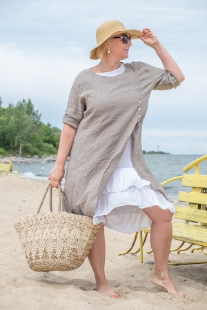 ROMANTIC LINEN DRESS, CAPPUCCINO