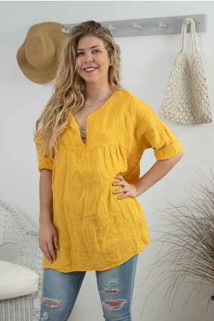 ALBERTINE LINEN BLOUSE, YELLOW