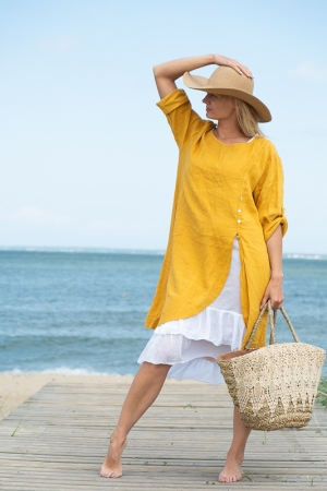 ROMANTIC LINEN DRESS,  MUSTARD