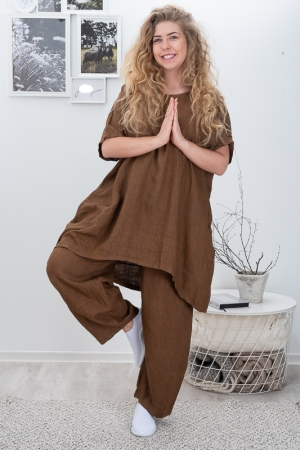AZALEA LINEN TUNIC, BROWN