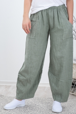 GOLDFLAME LINEN TROUSERS, KHAKI