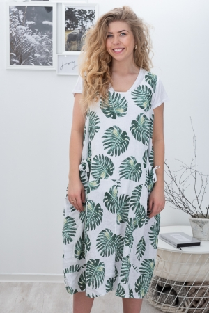 BIRCH LINEN DRESS, BIANCO