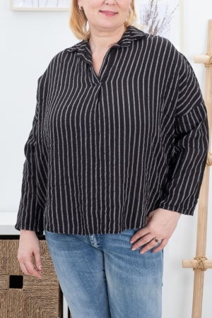BELLE STRIPED LINEN BLOUSE, BLACK