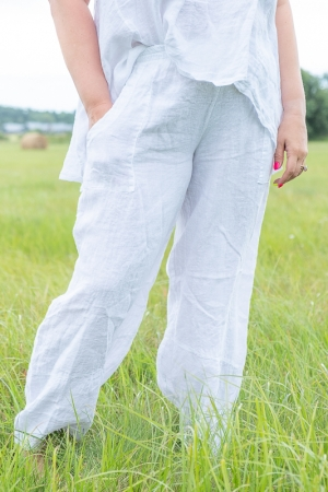 GOLDFLAME LINEN TROUSERS, WHITE