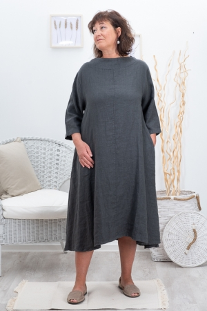 FENNEL LINEN DRESS, DARK GREY