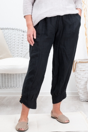 BAY LINEN PANTS, NERO