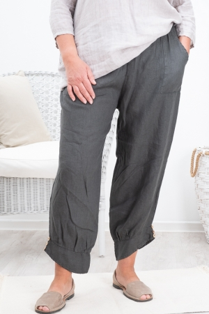 BAY LINEN PANTS, DARK GREY