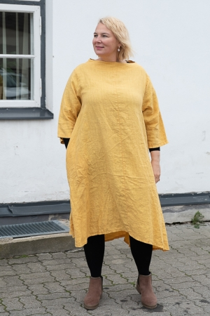 FENNEL LINEN DRESS, MUSTARD