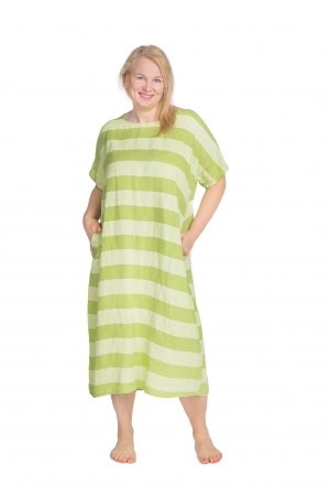 BLANC LINEN DRESS WITH STRIPES, GREEN