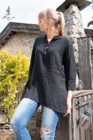 BUTTONS LINANE BLOUSE, NERO