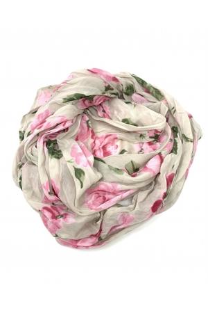 Siidpehme roosidega kaelasall, õrn beez